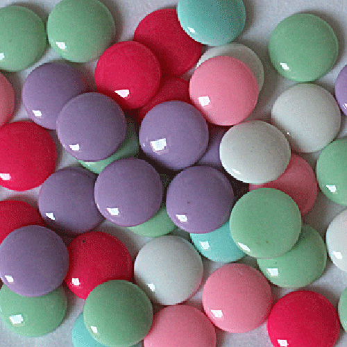 16mm Mixed Color Round Flatback Candy Resin