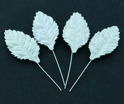 Wild Orchid Craft Mulberry Paper Leaves 30mm White