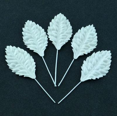 Wild Orchid Craft Mulberry Paper Leaves 40mm White