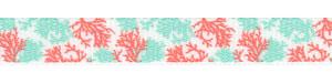 Coral Reef Print on White Grosgrain Ribbon