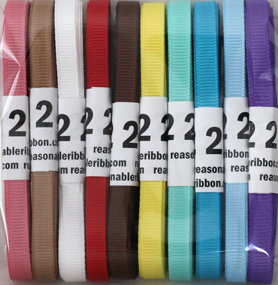 "Assortment 20 YARD 1/4"" Grosgrain Variety Pack HUGE SAVINGS!"