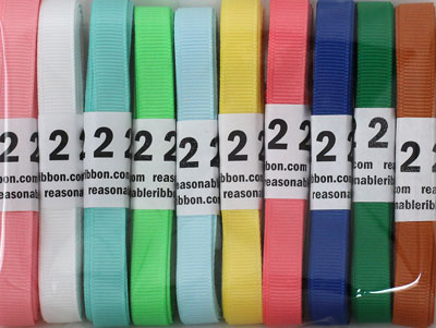 "Assortment 20 YARD 3/8"" Grosgrain Variety Pack HUGE SAVINGS!"