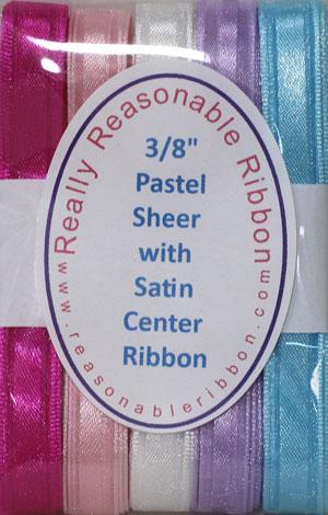 "3/8"" Pastel Sheer w/Satin Center Ribbon Assortment"