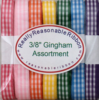 "3/8"" Gingham Ribbon Assortment RESTOCKED!"