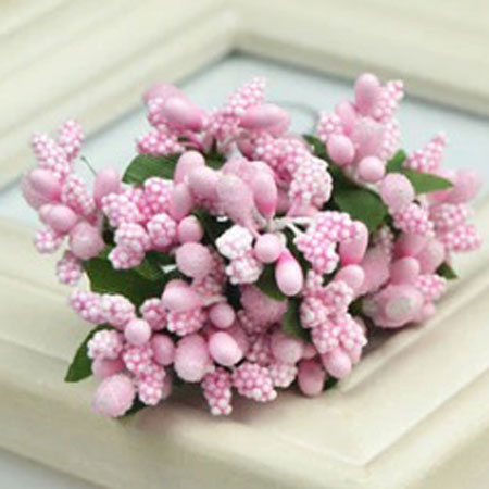 Bead Berry Spray Clusters Light Pink