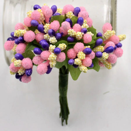 Bead Berry Spray Clusters Mixed Pastel