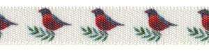 """3/8"""" Bird Print on Antique White Satin"""