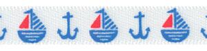 """Patriotic Boat and Anchor Print on 3/8"""" Satin Ribbon"""