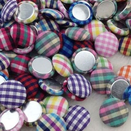 13mm Mixed Color Flatback Gingham Covered Button