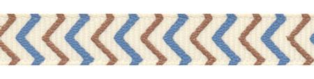 "3/8"" Blue and Brown Chevron Striped Grosgrain Ribbon"