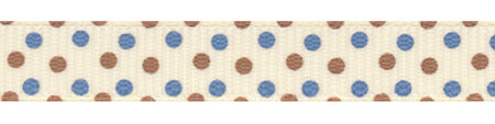 Blue and Brown Confetti Dots Grosgrain Ribbon