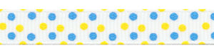 Yellow and Blue Confetti Dots Grosgrain Ribbon HALF OFF!