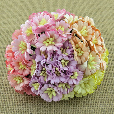 Wild Orchid Craft Cosmos Daisy Stem Flowers Mixed Pastel Tone