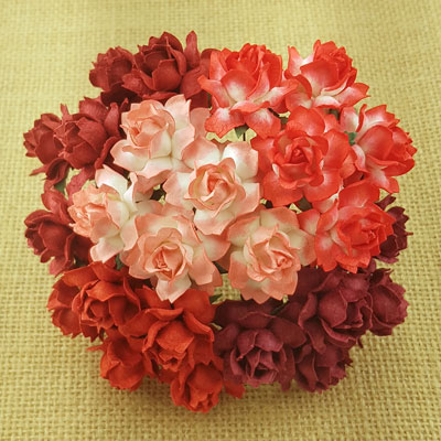 Wild Orchid Craft 25mm Cottage Roses Mixed Red