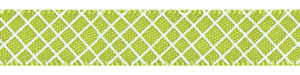 Crosshatch on Apple Green Satin Ribbon