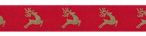"5/8"" Reindeer on Red Satin Ribbon"