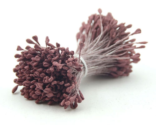 Double Head Flat Mini Stamens Wine Red