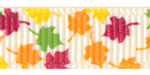 Fall Leaves on Ivory Grosgrain Ribbon