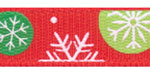 Funky Snowflakes on Poppy Red Grosgrain Ribbon