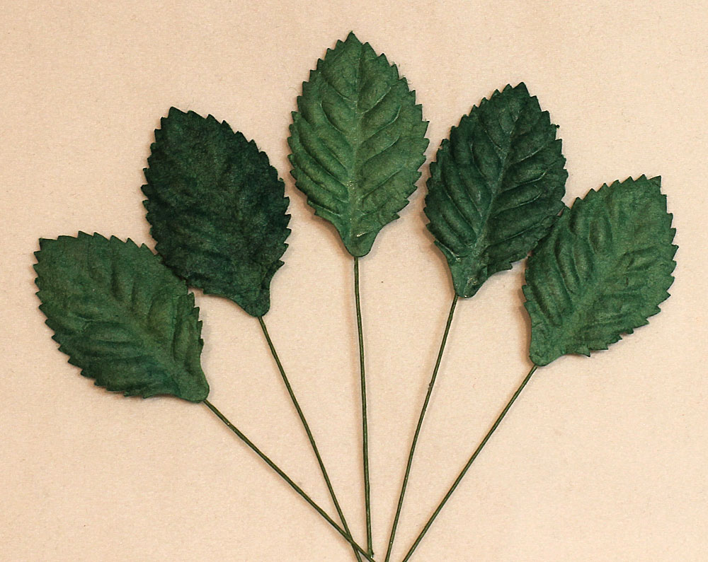 Wild Orchid Craft Mulberry Paper Leaves 30mm Green