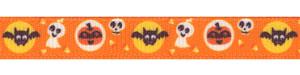 Halloween Bat/Ghost/Pumpkin Print on Tangerine Grosgrain Ribbon