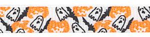 Halloween Ghost and Pumpkin Print on White Grosgrain Ribbon