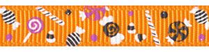 Halloween Candy on Tangerine Grosgrain Ribbon