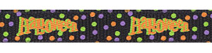 Halloween Word with Confetti Dots on Black Grosgrain Ribbon