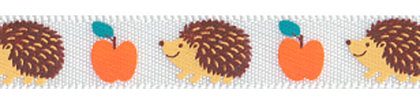 Hedgehogs and Pumpkins on White SATIN Ribbon