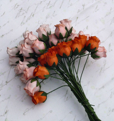 10 x 12 mm Rose Buds Mixed Peach/Orange
