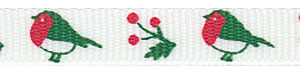 Holiday Birds and Berries on White Grosgrain Ribbon
