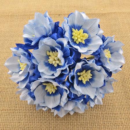 Wild Orchid Crafts Lotus Flower 2-Tone Sapphire Blue