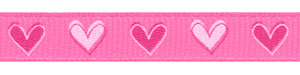 Mixed Pink Hearts on Hot Pink Grosgrain Ribbon