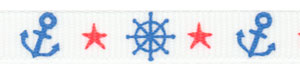 Patriotic Boat Wheel and Anchor on White Grosgrain