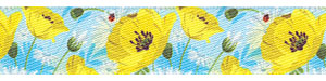 "5/8"" Yellow Poppy Print Satin Ribbon"