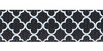"3/8"" Quatrefoil Print on Black Satin Ribbon"