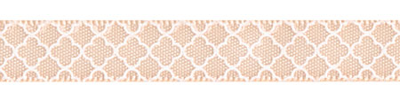 "3/8"" Quatrefoil Print on Petal Peach Satin Ribbon Spool SALE!"