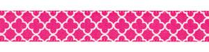 "3/8"" Quatrefoil Print on Shocking Pink Satin Ribbon"