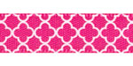 "3/8"" Quatrefoil Print on Shocking Pink Satin Ribbon"