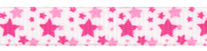Random Mixed Pink Stars on White Grosgrain