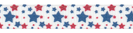 Random Vintage Patriotic Stars on Off-White Grosgrain