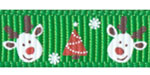 Reindeer on Emerald Green Grosgrain Ribbon