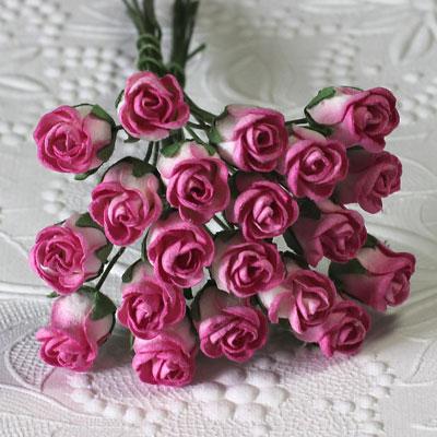10 x 12 mm Rose Bud 2-Tone Ivory/Hot Pink