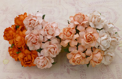 Wild Orchid Craft 25mm Cottage Roses Mixed Peach/Orange