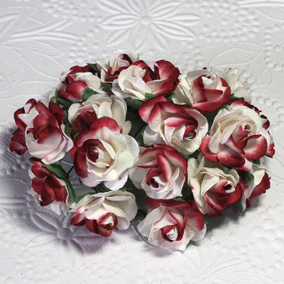 25mm Open Roses 2-Tone Ivory/Red