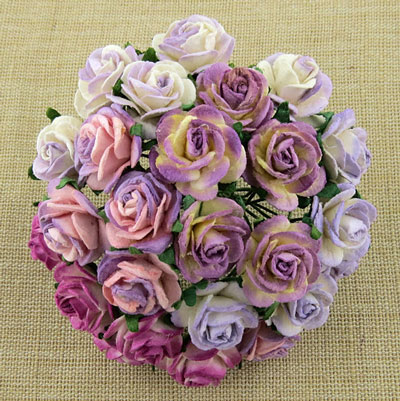 Wild Orchid Craft 20mm Open Roses 2-Tone Purple/Lilac
