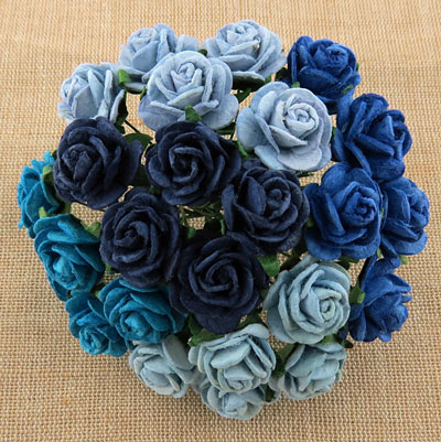 Wild Orchid Craft 10mm Open Roses Mixed Blue