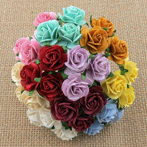 Wild Orchid Craft 20mm Open Roses Mixed Color