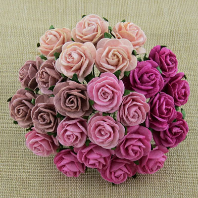 Wild Orchid Craft 20mm Open Roses Mixed Pink