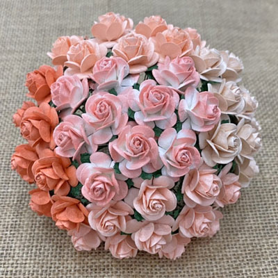 Wild Orchid Craft 20mm Open Roses Mixed Peach & Orange RESTOCKED!